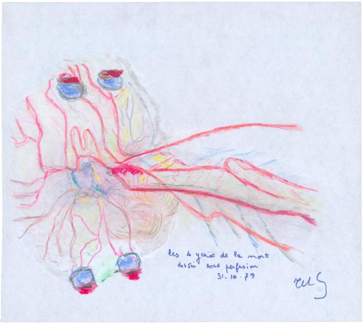 Les 4 yeux de la mort, dessin sous perfusion
